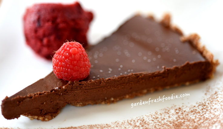 Slice of Chocolate Ganache Torte and Tart Cherry Sorbet