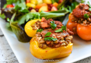 Close Up Italian Stuffed Pepper With Lentil Stew
