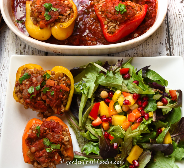 Italian Lentil Stuffed Peppers and Salad