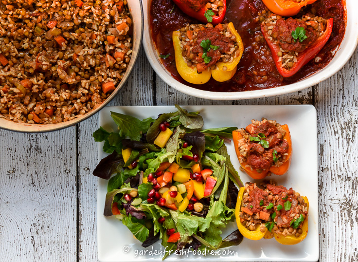 Italian Stuffed Peppers With Lentil Stew