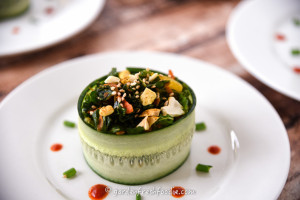 Moroccan Kale Salad Plated With Cucumber