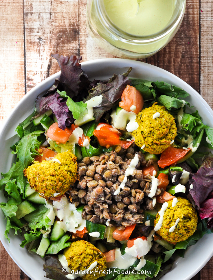 Tahini Dressing and Falafel Salad