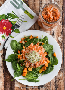 Quart of Ginger Carrot Kimchi With Fresh Alfalfa Sprouts