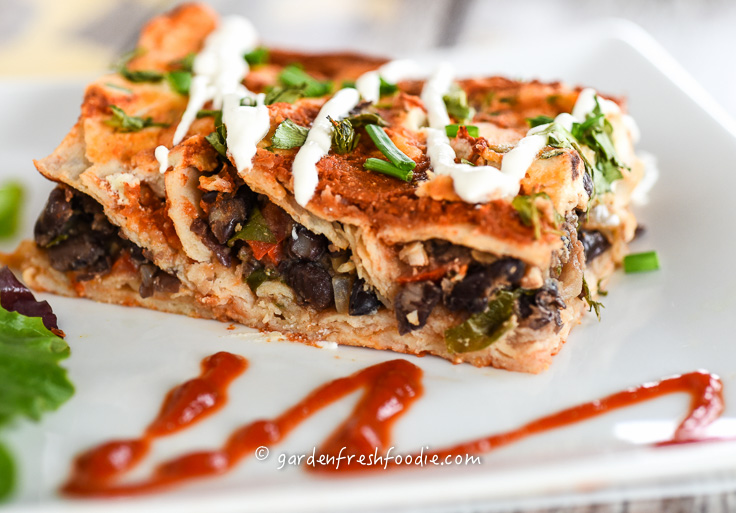 Black Bean Enchiladas Topped With Cashew Sour Cream