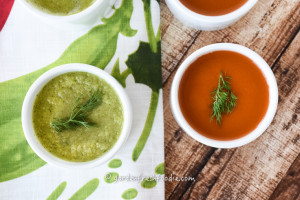 Fresh Spring Pea Soup and Raw Dilled Out Carrot Soup