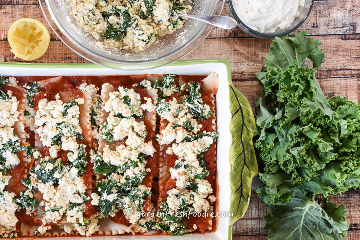 Layering Tofu Ricotta on Lasagna