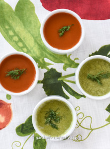 Raw Dilled Out Carrot Soup And Spring Pea Soup