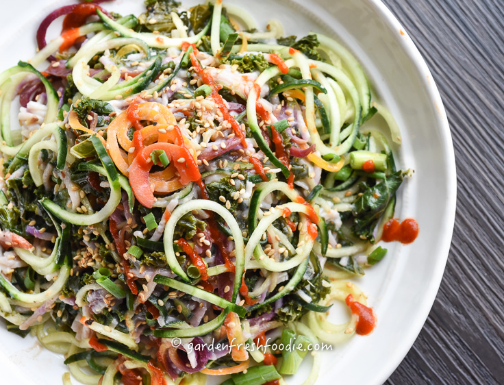 Bowl of Cucumber Noodle Salad Topped With Siracha.