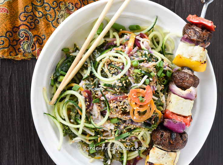 Bowl of Cucumber Noodle Salad With Miso Tofu Shish Kebab