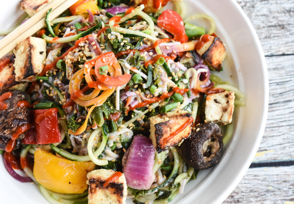 Grilled Miso Tofu & Veggies With Bowl of Cucumber Noodle Salad