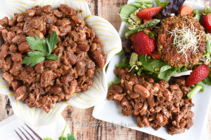 Vegetarian Molasses Baked Beans, Side Salad Topped With Veggie Burger