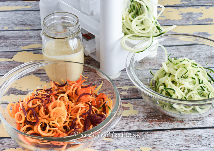 Spiralizing Cucumbers and Carrots