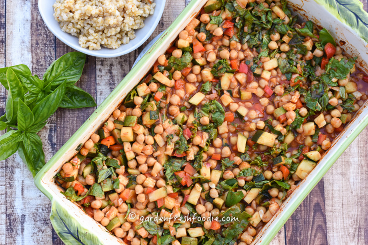 Baked Saucy Chickpeas WIth Zucchini and Fresh Greens