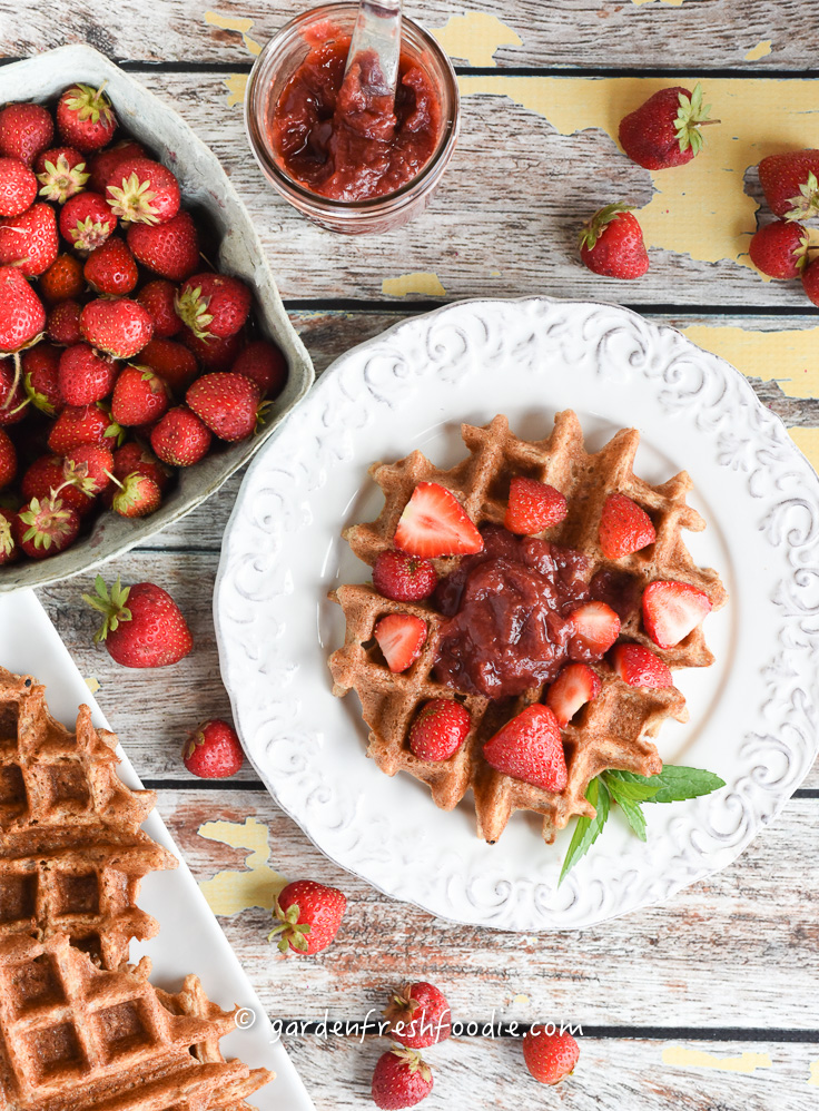 Fresh Strawberry Lemon Jam on Gluten Free Waffles
