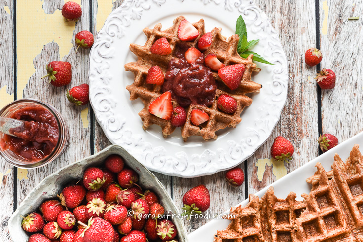 Gluten Free Waffles Topped With Fresh Low Sugar Strawberry Lemon Jam