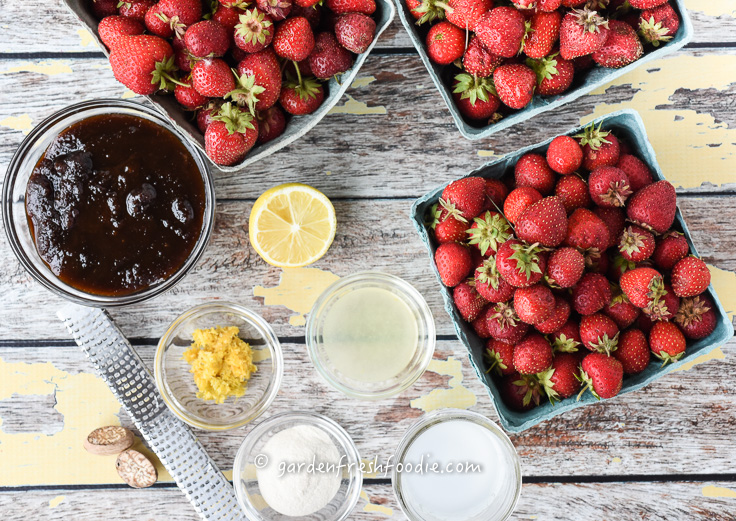 Mise En Place For Low Sugar Strawberry Lemon Jam
