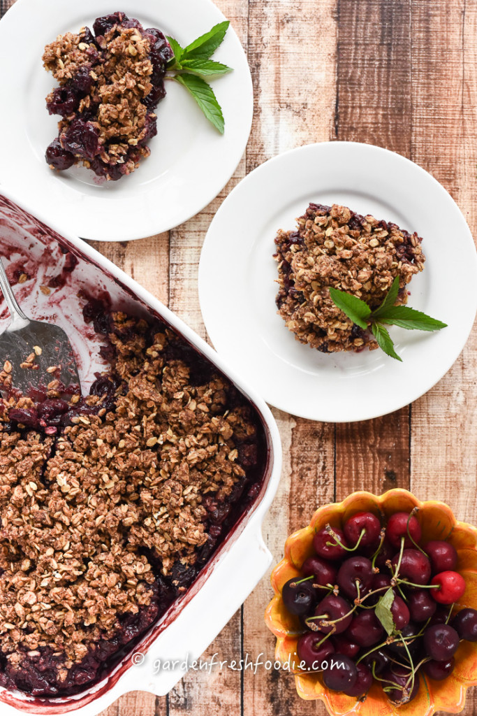Plates Cherry Cobbler With Oat Topping