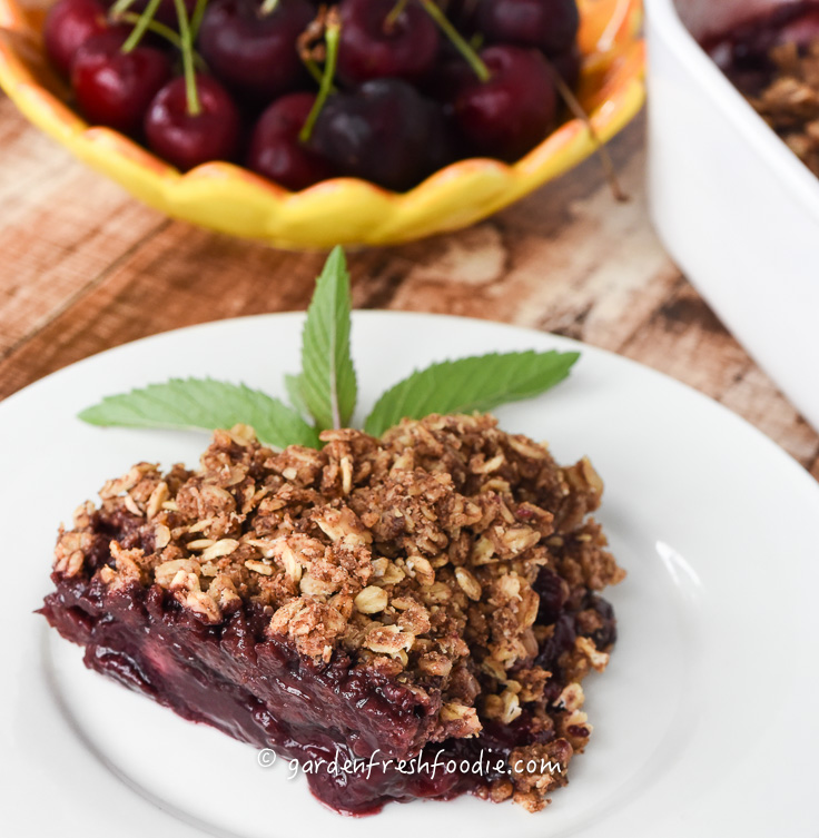 Slice of Cherry Cobbler With Oat Topping