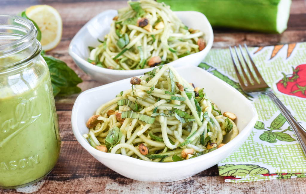Nut Free Pesto and Fresh Zucchini Noodles