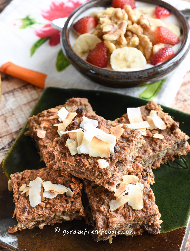 Plate of Zucchini Breakfast Bars