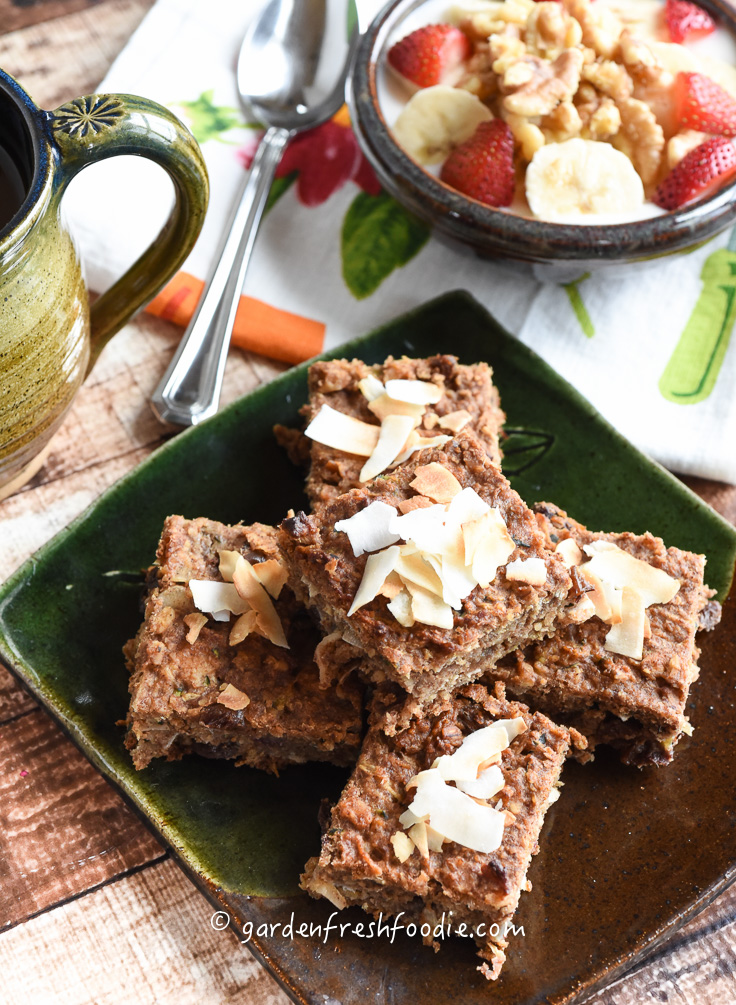Zucchini Breakfast Bars With Fresh Coconut-Perfect With Coconut