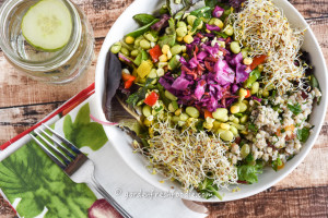 Edamame Salad Bowl With Sprouts, Slaw, and Tabbouleh