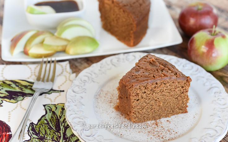 Slice of Plant-Based Honey Cake and Apples
