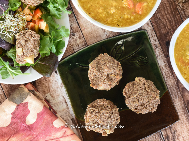 Apple Oat Muffins with Red Lentil Soup and Salad