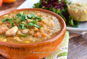 Italian Curry Red Lentil Soup With Cannellini Beans Served With Corn Muffins