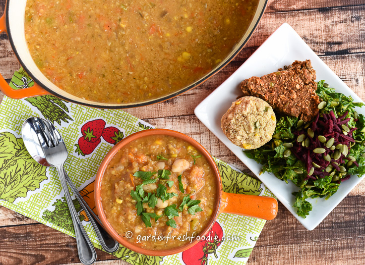 Pot of Italian Red Lentil Soup With Cannellini Beans and Curry Leaves