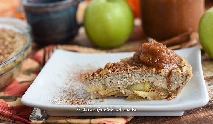 Slice of Apple Pancake Topped With Garden Fresh Applesauce