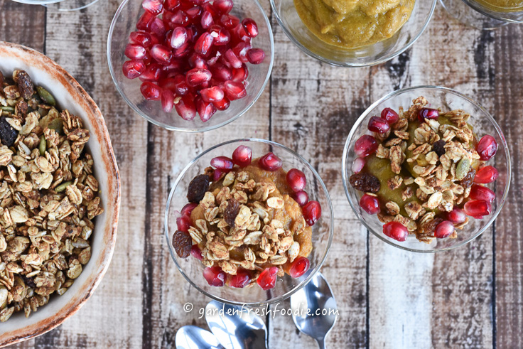 Pumpkin Pudding With Pomegranates and Ginger Tahini Granola