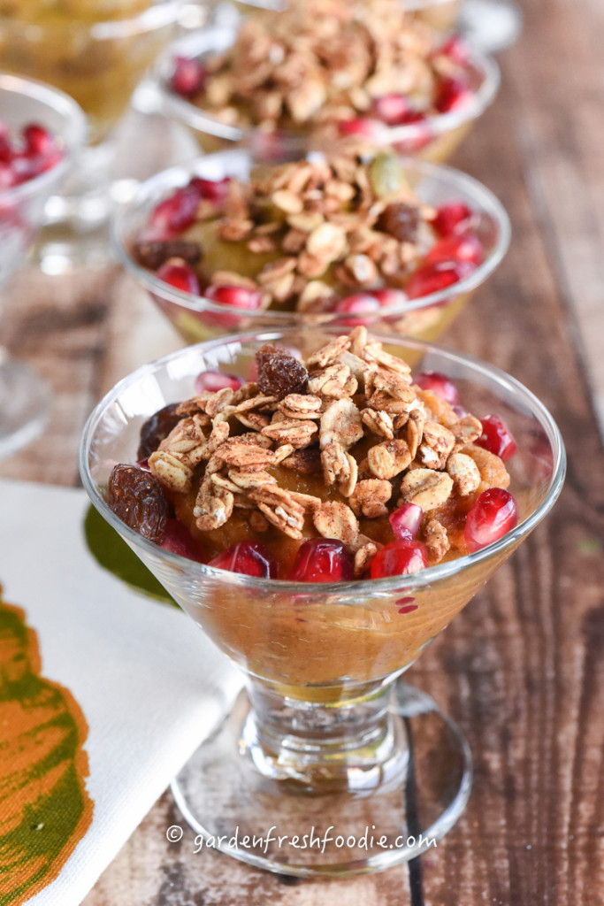 Pumpkin Pudding With Pomegranates and Granola