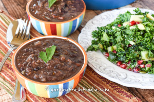 Bowls of Caribbean Black Bean Soup and Salad