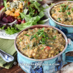 Bowls of Kitchari-Indian Stew and Salad With Roasted Root Veggies