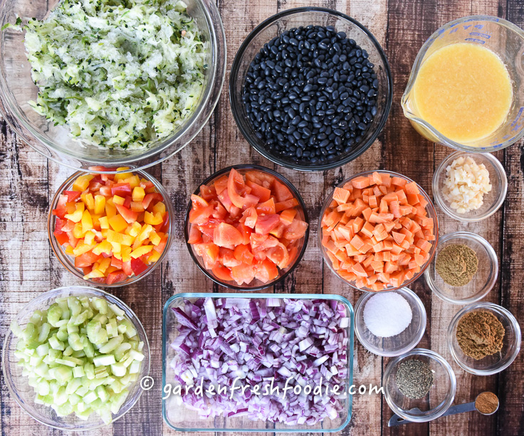 Caribbean Black Bean Soup Mise En Place