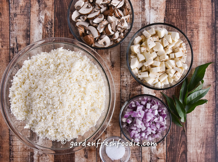 Cauliflower Rice Pilaf Mise En Place