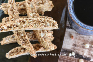 Close Up of Ginger Hazelnut Biscotti