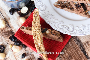 Gluten Free Ginger Hazelnut and Chocolate Macadamia Nut Biscotti