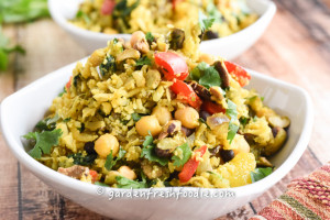 Indian Cauliflower Rice Bowls With Fresh Cilantro