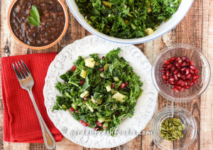 Massaged Winter Kale Salad With Fresh Pomegranates & Caribbean B