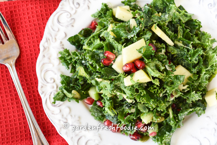 Plate of Massaged Winter Kale Salad With Fresh Pomegranates