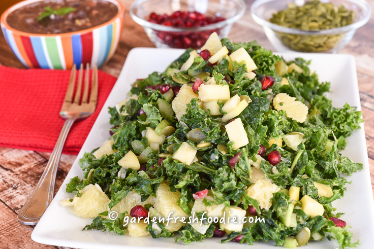 Winter Massaged Kale Salad With Pomegranates and Pumpkin Seeds