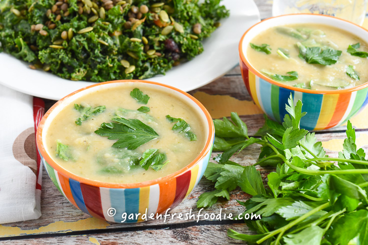 White Bean and Root Veggie Soup With Kale Salad