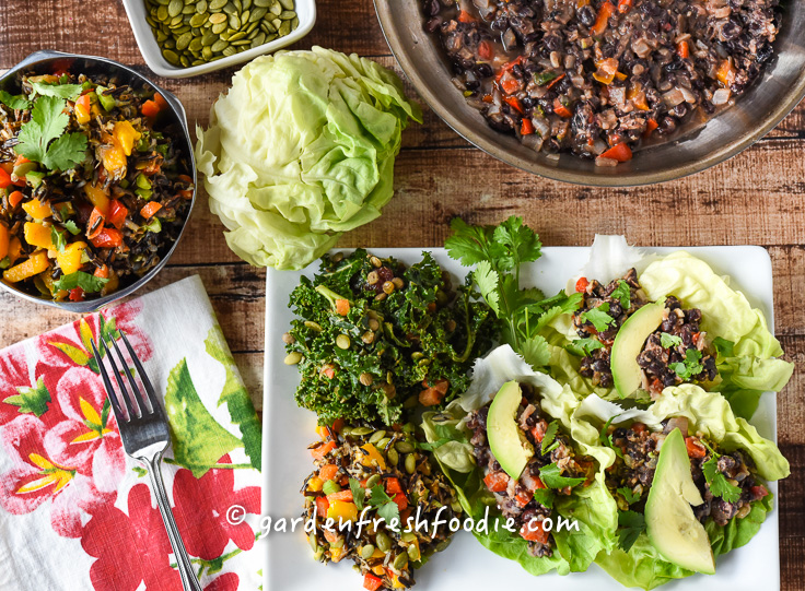 Black Bean Tacos and Rainbow Rice Salad Dinner