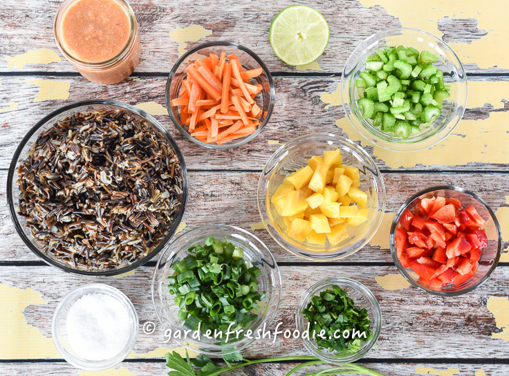 Rainbow Rice Salad Mise En Place