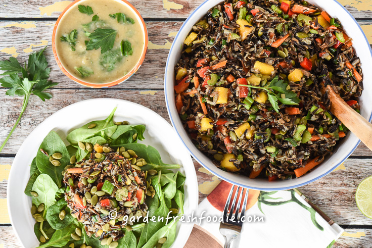 Rainbow Rice Salad with White Bean and Root Veggie Soup