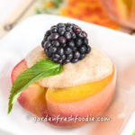 Apple Cider Poached Peach With Whipped Pear Topping