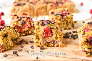 Vegan Pumpkin Oatmeal Cranberry Breakfast Bars