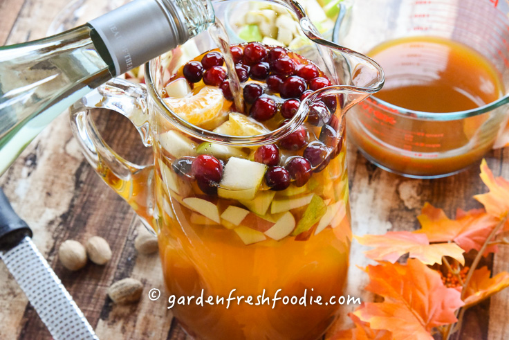 Dry WIne For Apple Cider Sangria With Cranberries, Apples, & Pears